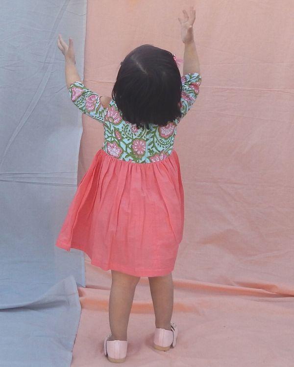 Coral peach hand block printed cold shoulder dress 1