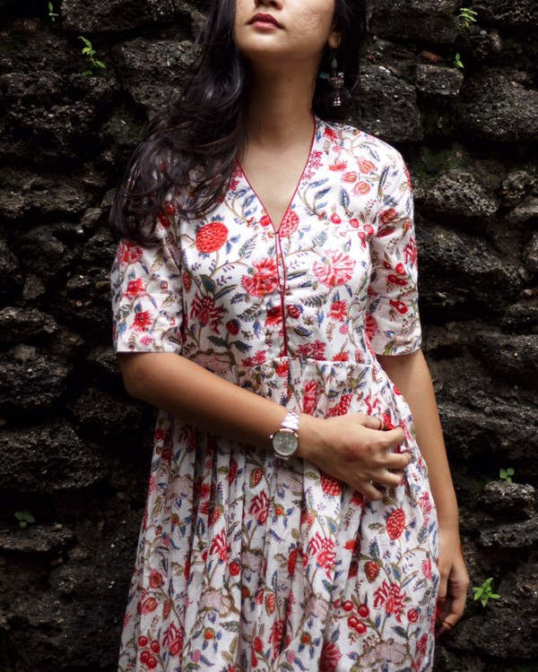 White and red floral printed dress 1