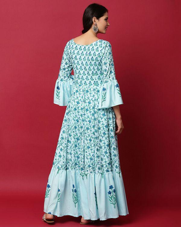 Light blue floral ruffled maxi dress 3