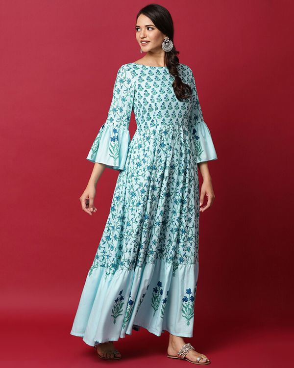 Light blue floral ruffled maxi dress 2