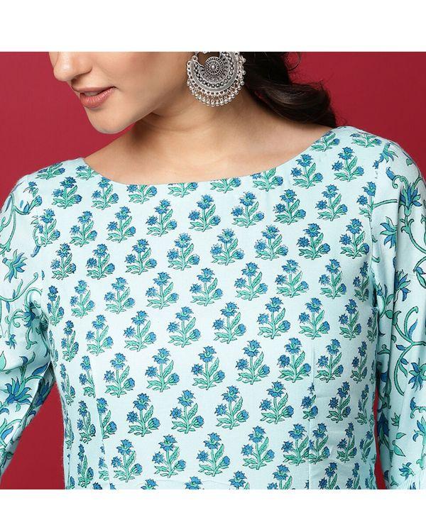 Light blue floral ruffled maxi dress 1