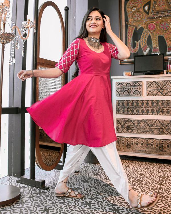 Magenta pink gota kurta and dhoti set- Set Of Two 2