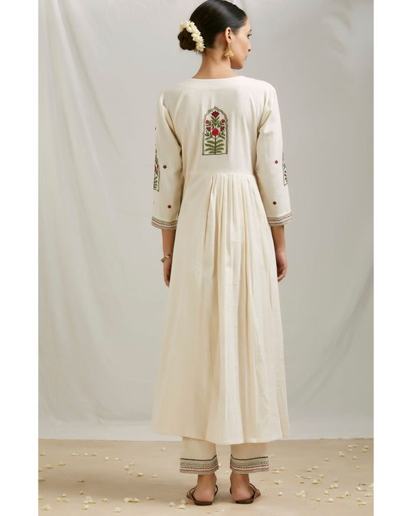 Ivory floral embroidered angrakha kurta and pants with dupatta- Set Of Three 3