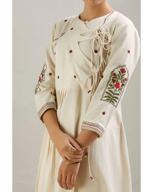 Ivory floral embroidered angrakha kurta and pants with dupatta- Set Of Three 1