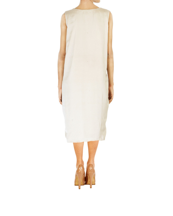 Asymmetrical satin embroidered dress in  a soft metallic beige colour 1
