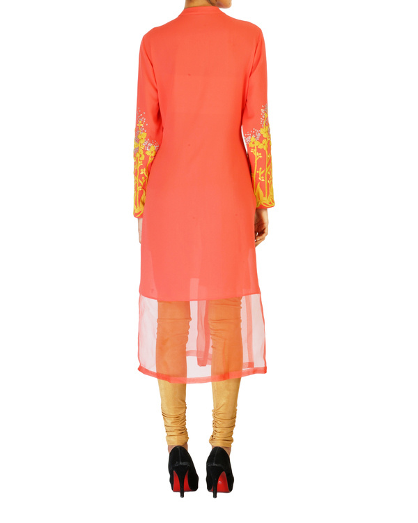 Coral tunic with embroidered sleeves 1