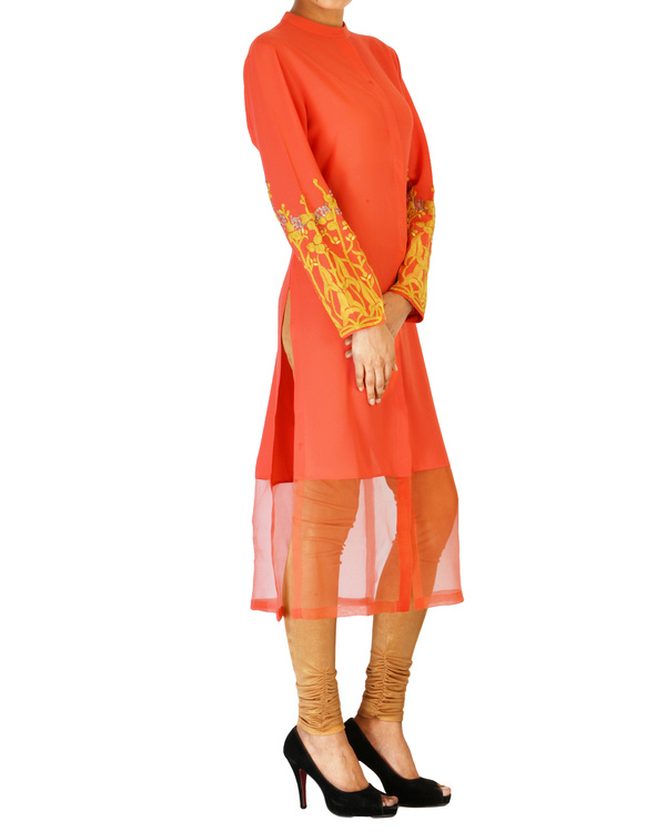 Coral tunic with embroidered sleeves 2