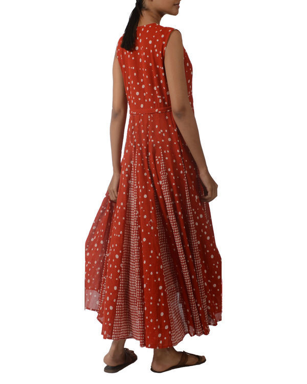 Red overlapping yoke dress 1