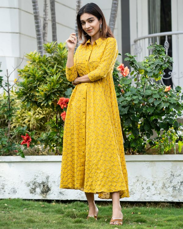Yellow web embroidered collar dress 3