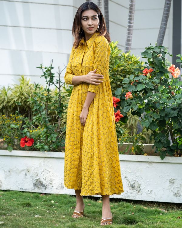 Yellow web embroidered collar dress 2
