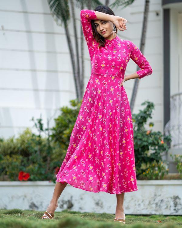 Magenta pink bandhani collar dress 2