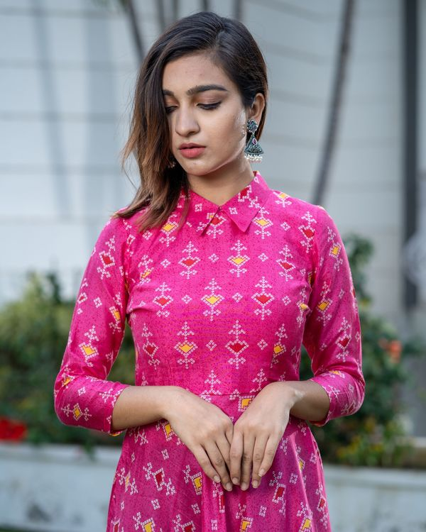 Magenta pink bandhani collar dress 1