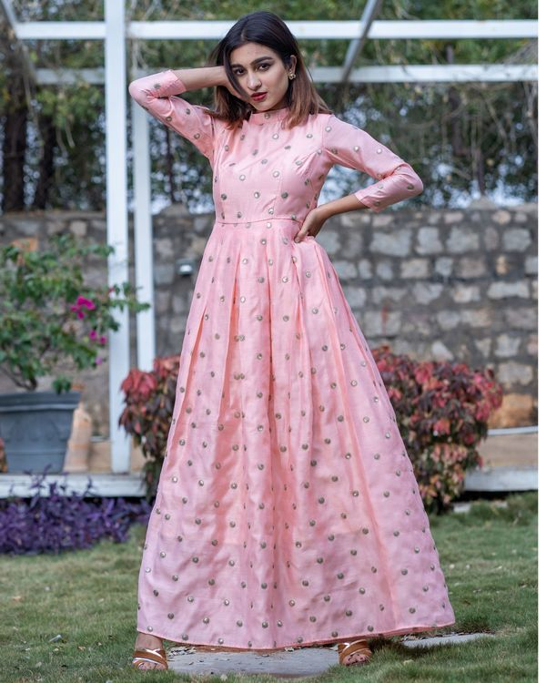 Pink embroidered box pleated chanderi dress 2