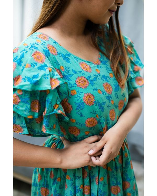 Turquoise and peach floral printed flutter dress 3