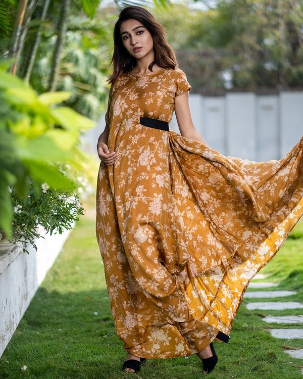 Cider orange floral dress with side belt 4