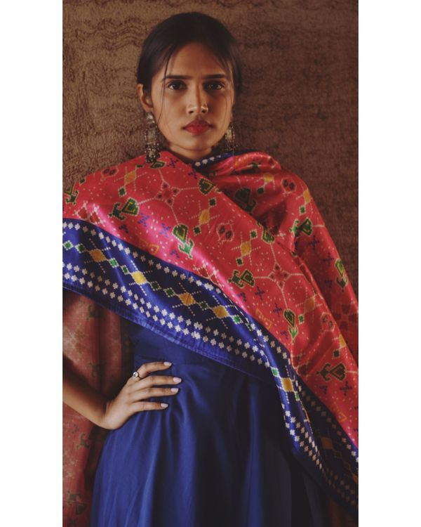 Navy blue flared dress with pink dupatta- Set Of Two 1