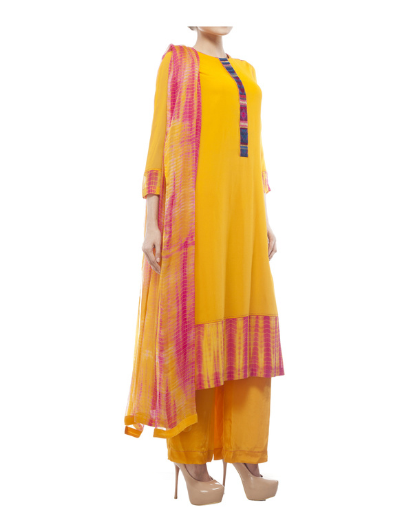 Round neck front embroidered kurta , comes with a palazzo  and a tie & dye dupatta 2