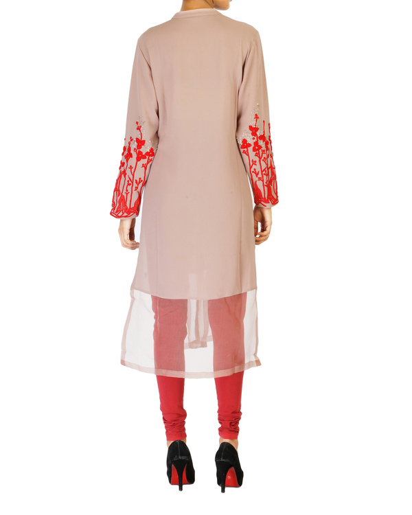 Pale mauve tunic with embroidered sleeves 1