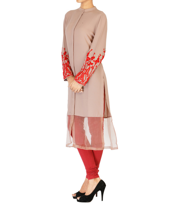 Pale mauve tunic with embroidered sleeves 2