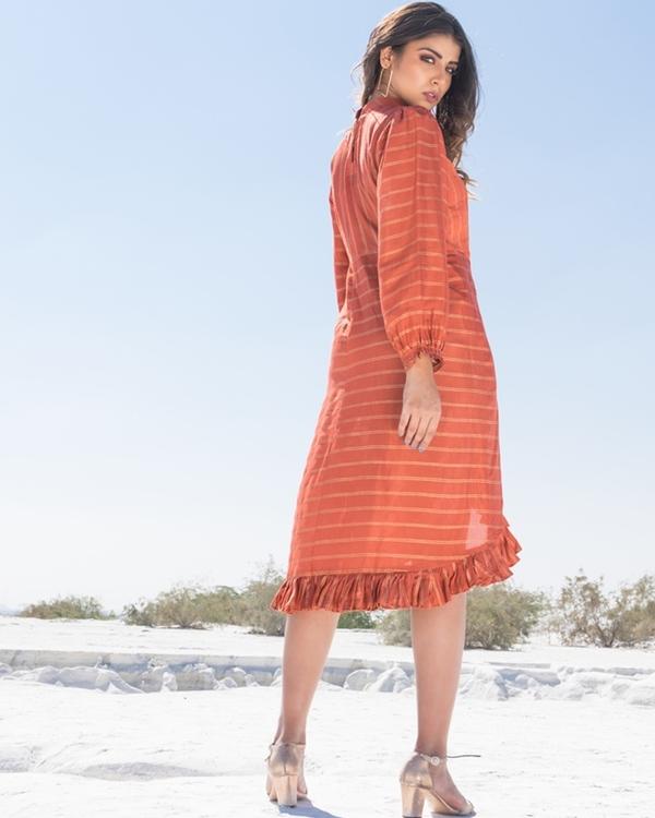 Rust ruffled overlap dress 2