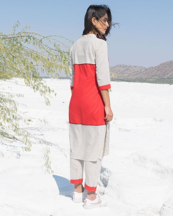 Red and white paneled strip kurta and pants- Set Of Two 2