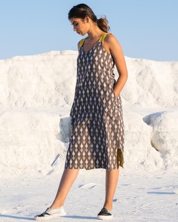 Grey and yellow ikat slit dress 1
