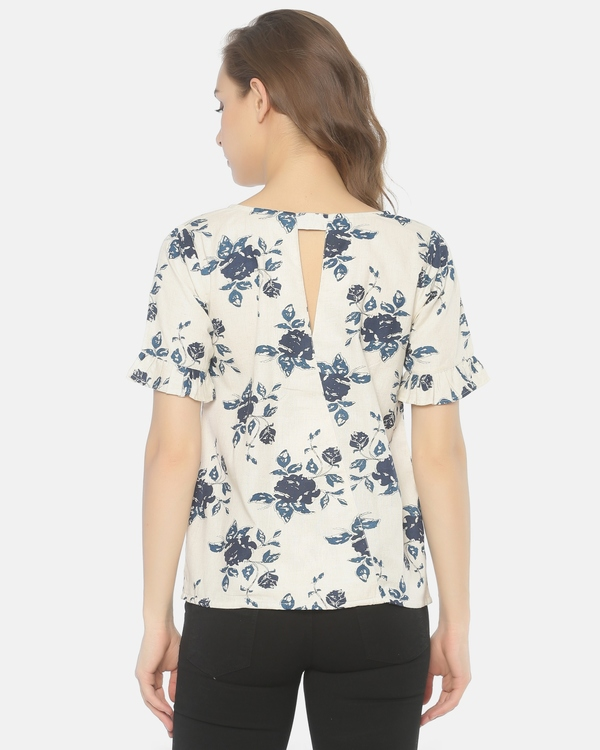 Off white and blue floral printed cut work top 3