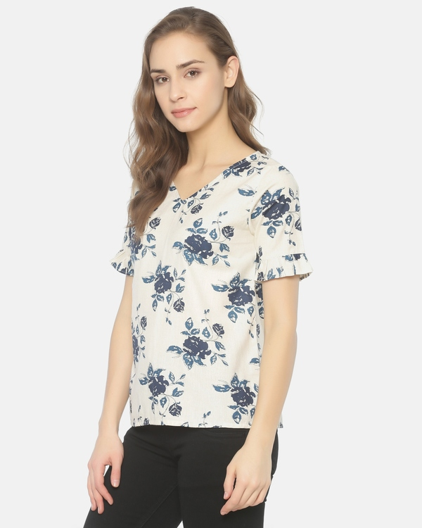 Off white and blue floral printed cut work top 2