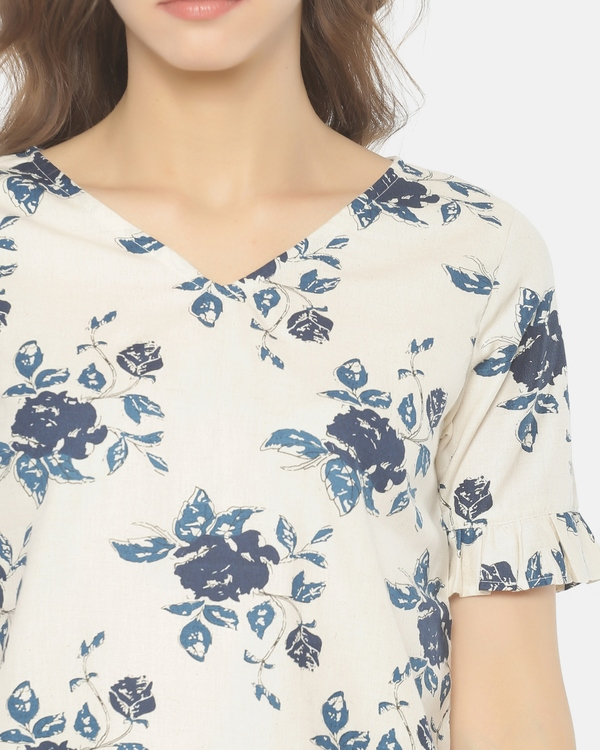 Off white and blue floral printed cut work top 1