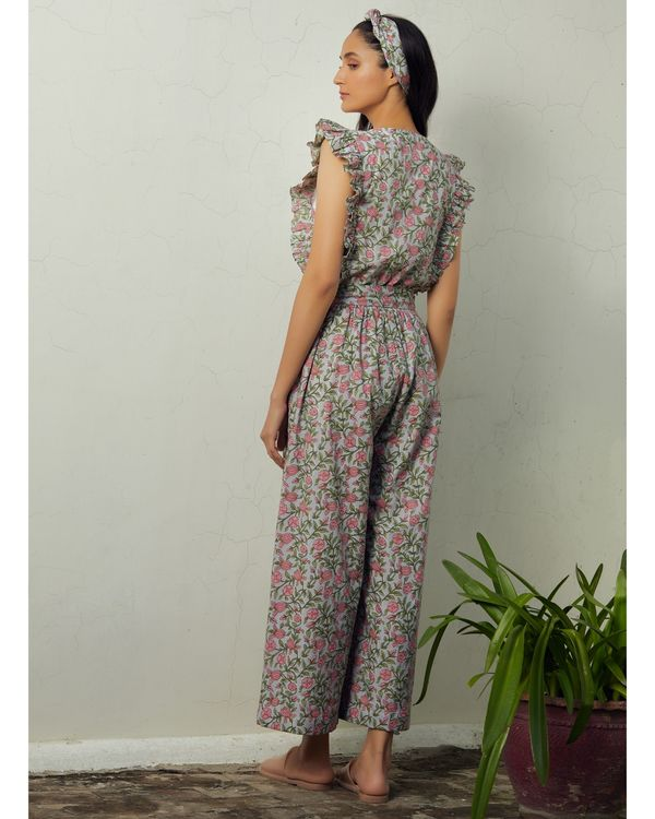 Grey and pink floral tie-up jumpsuit 2