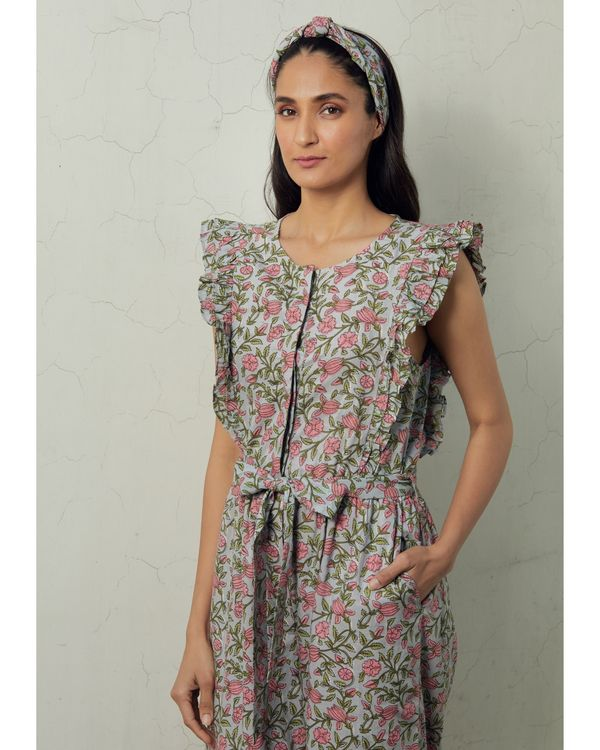 Grey and pink floral tie-up jumpsuit 1