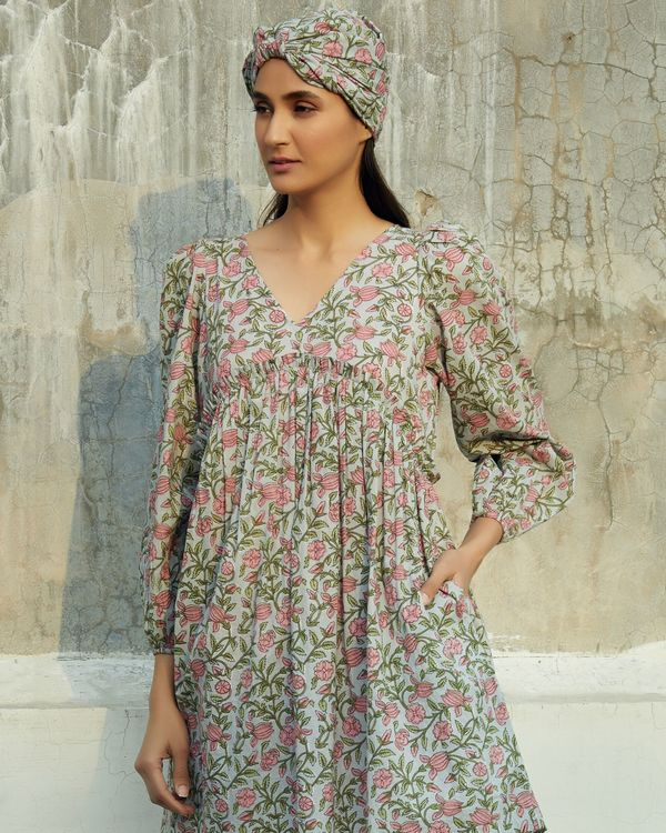 Grey and pink floral ruffled dress 1
