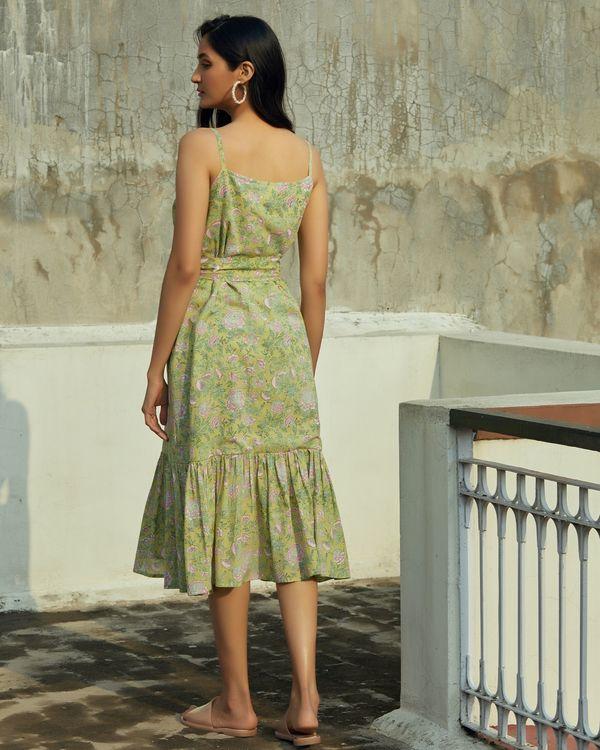 Green floral ruffled strap dress 3