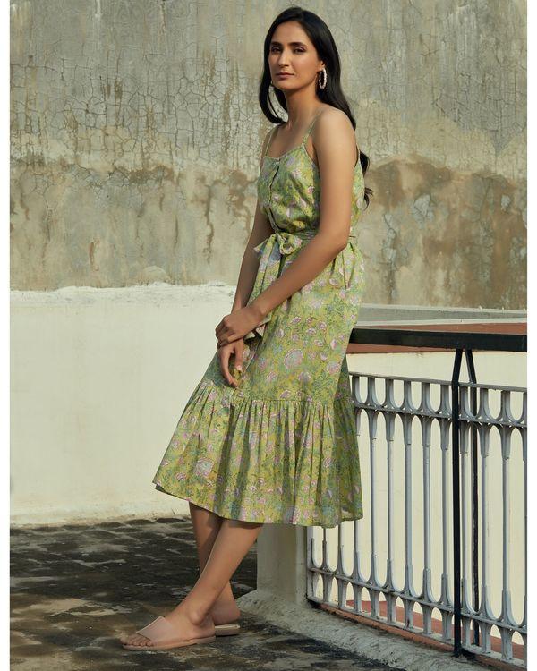 Green floral ruffled strap dress 2