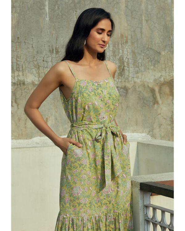Green floral ruffled strap dress 1