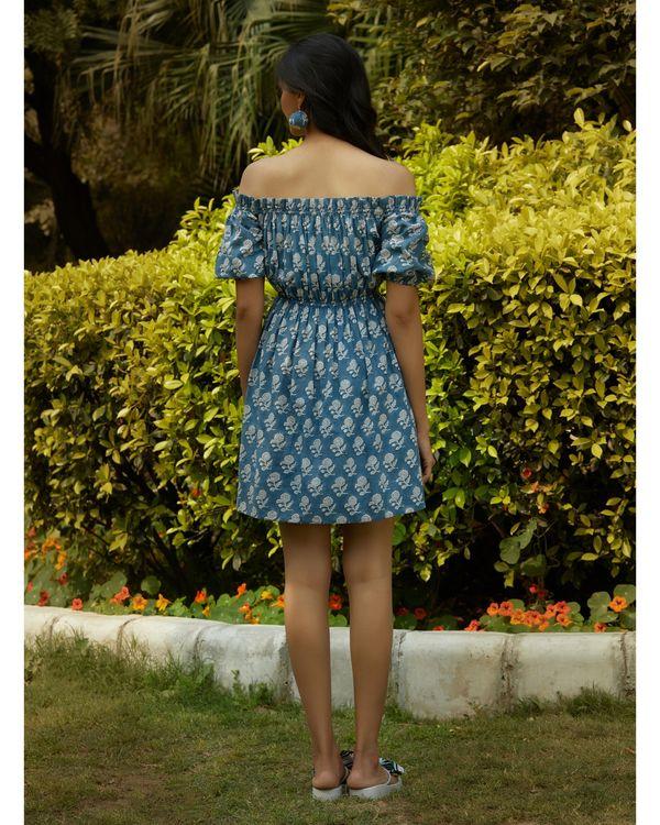 Space blue printed off shoulder dress 3