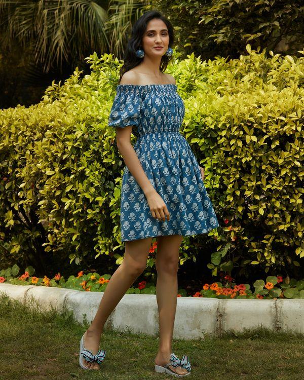Space blue printed off shoulder dress 2