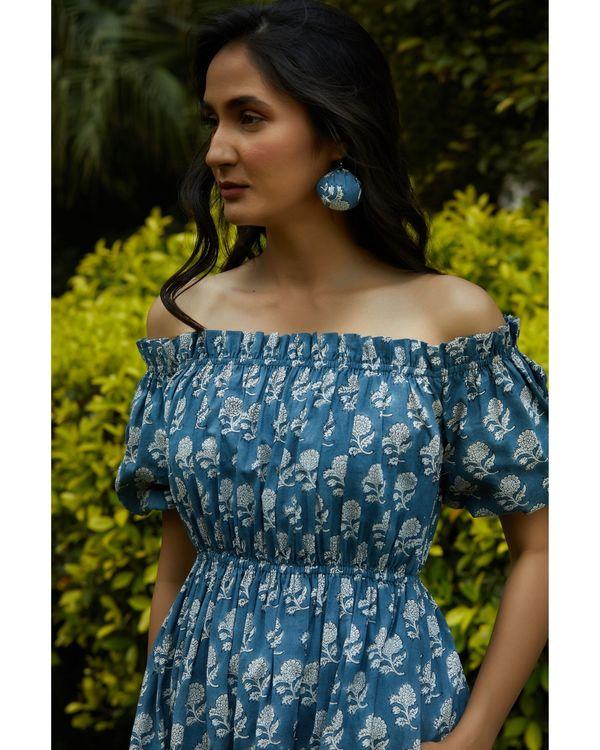 Space blue printed off shoulder dress 1