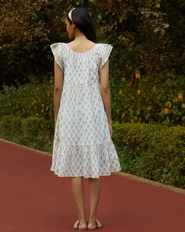 White printed ruffle dress 3