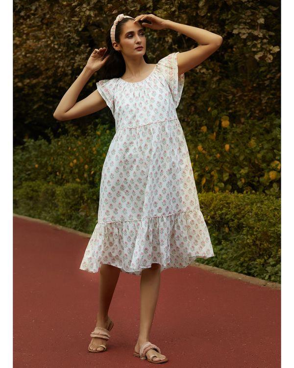 White printed ruffle dress 2