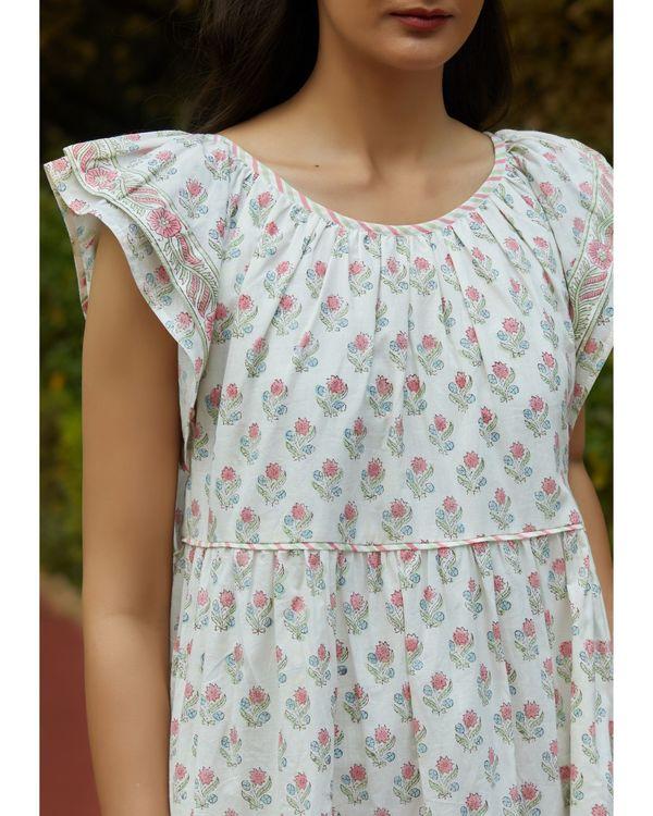 White printed ruffle dress 1