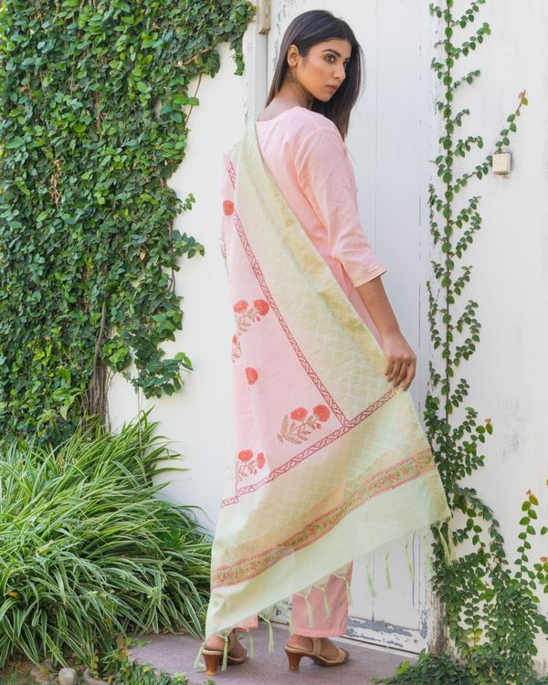 Pink embroidered kurta and pants with printed dupatta- Set Of Three 3