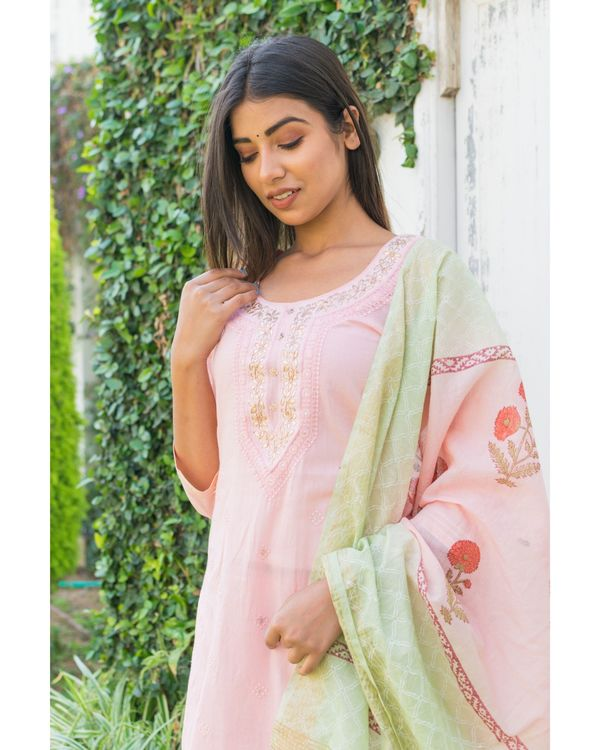 Pink embroidered kurta and pants with printed dupatta- Set Of Three 1