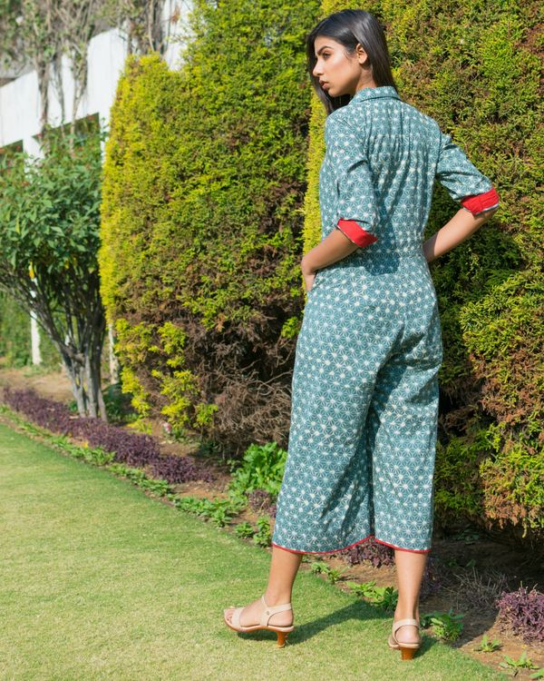 Green printed pocket jumpsuit 3
