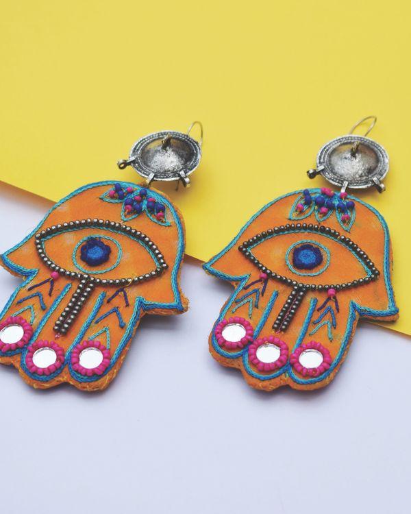 Yellow embroidered hamza earrings 1