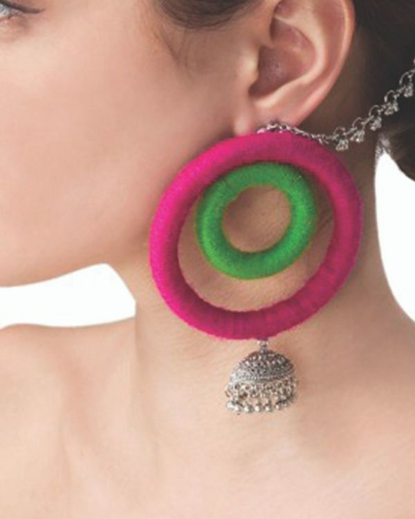 Green and pink duo hoop earrings 1