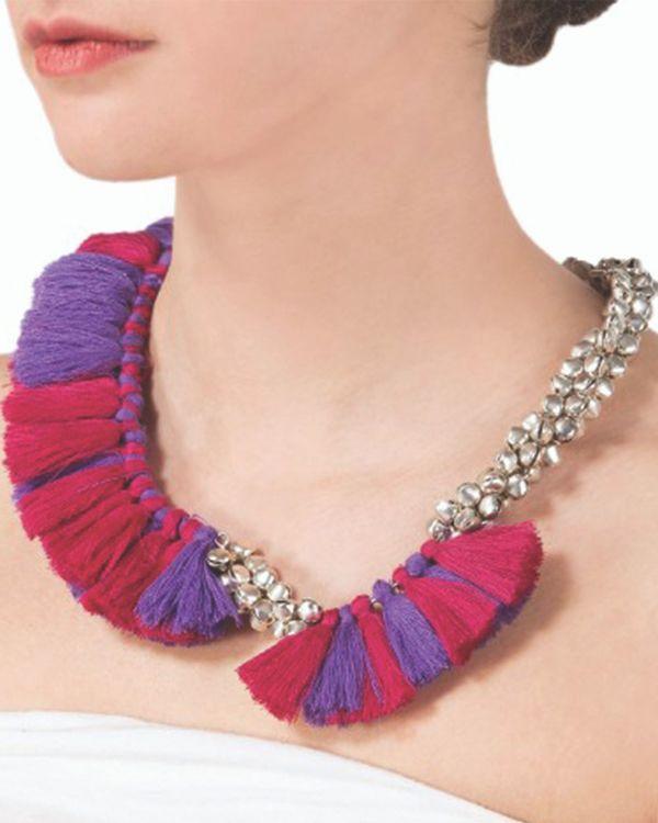 Pink and purple tassel neckpiece 1
