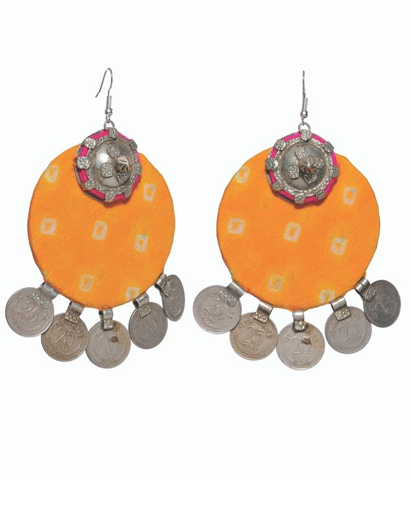 Yellow circular coin earrings 1