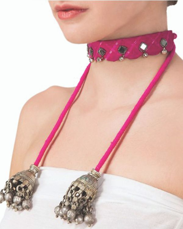 Pink mirror embellished choker with ghungroos 1