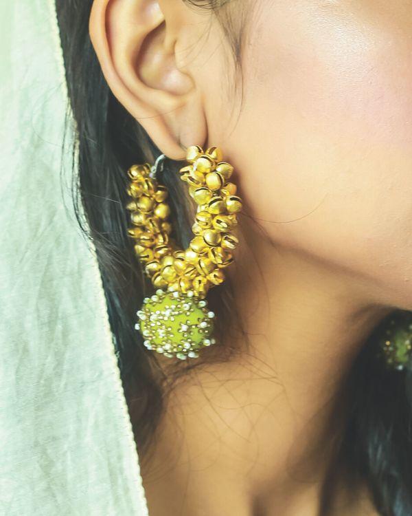 Green beaded ghunghroo earrings 1